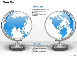 1014 Two Globes With World Map Graphic Powerpoint Template