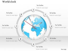 1014 World Clock With Globe Map Center Powerpoint Template