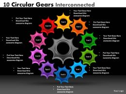 10 circular gears interconnected