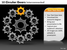 10 Circular Gears Interconnected Powerpoint Slides And Ppt Templates DB