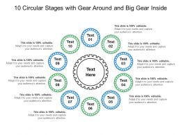 10 Circular Stages With Gear Around And Big Gear Inside