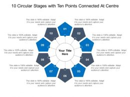 10 Circular Stages With Ten Points Connected At Centre