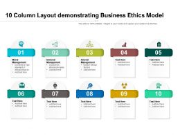 10 Column Layout Demonstrating Business Ethics Model