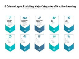 10 Column Layout Exhibiting Major Categories Of Machine Learning