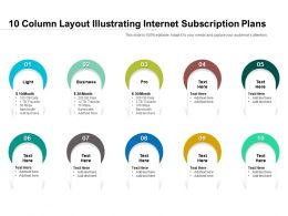 10 Column Layout Illustrating Internet Subscription Plans