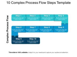 10 Complex Process Flow Steps Template PowerPoint Slide Clipart