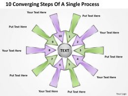 10 converging steps of a single process Arrows Software PowerPoint Slides