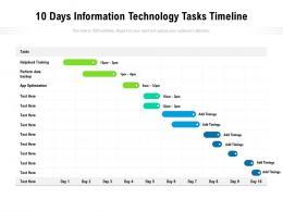 10 Days Information Technology Tasks Timeline