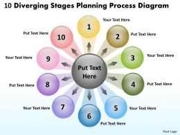 10 diverging stages planning process diagram Charts and PowerPoint Slides