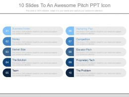 10 Slides To An Awesome Pitch Ppt Icon