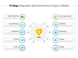 10 Stage Infographic With Achievement Trophy In Middle