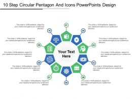 10 Step Circular Pentagon And Icons Powerpoints Design