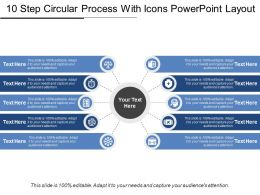 10 Step Circular Process With Icons Powerpoint Layout