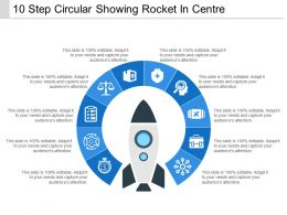 10 Step Circular Showing Rocket In Centre