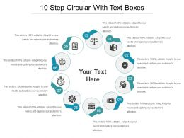 10 Step Circular With Text Boxes