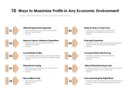 10 Ways To Maximize Profits In Any Economic Environment