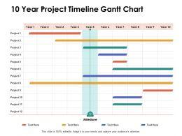 10 Year Project Timeline Gantt Chart Ppt Powerpoint Presentation Portfolio Design