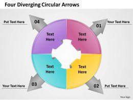 1103 Business Cycle Diagram Four Diverging Circular Arrows Business Diagram