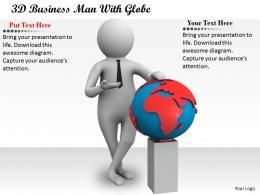1113 3D Business Man With Globe Ppt Graphics Icons Powerpoint