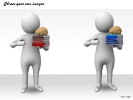 1113 3D Illustration Of Brain With Books Ppt Graphics Icons Powerpoint