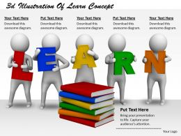 1113 3d Illustration Of Learn Concept Ppt Graphics Icons Powerpoint