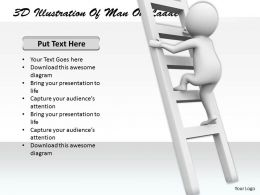 1113 3D Illustration Of Man On Ladder Ppt Graphics Icons Powerpoint