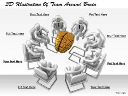 1113 3D Illustration Of Team Around Brain Ppt Graphics Icons Powerpoint