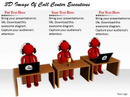 1113 3D Image Of Call Center Executives Ppt Graphics Icons Powerpoint