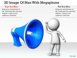 1113 3D Image Of Man With Megaphone Ppt Graphics Icons Powerpoint