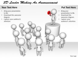 1113 3D Leader Making An Announcement Ppt Graphics Icons Powerpoint