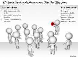 1113 3D Leader Making An Announcement With Red Megaphone Ppt Graphics Icons Powerpoint