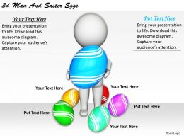 1113 3d Man And Easter Eggs Ppt Graphics Icons Powerpoint