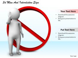 1113 3d Man And Interdiction Sign Ppt Graphics Icons Powerpoint