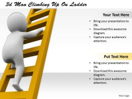1113 3d Man Climbing Up On Ladder Ppt Graphics Icons Powerpoint