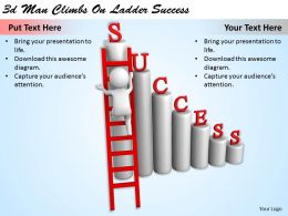 1113 3d Man Climbs On Ladder Success Ppt Graphics Icons Powerpoint