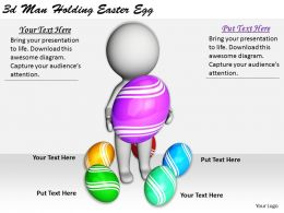 1113 3d Man Holding Easter Egg Ppt Graphics Icons Powerpoint