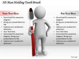 1113 3D Man Holding Tooth Brush Ppt Graphics Icons Powerpoint