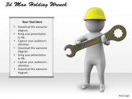 1113 3d Man Holding Wrench Ppt Graphics Icons Powerpoint