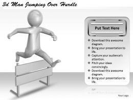 1113 3d Man Jumping Over Hurdle Ppt Graphics Icons Powerpoint
