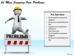 1113 3d Man Jumping Over Problems Ppt Graphics Icons Powerpoint