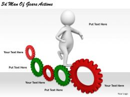 1113 3d Man Of Gears Actions Ppt Graphics Icons Powerpoint