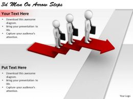 1113 3d Man On Arrow Steps Ppt Graphics Icons Powerpoint