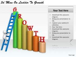 1113 3d Man On Ladder To Growth Ppt Graphics Icons Powerpoint
