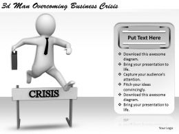 1113 3d Man Overcoming Business Crisis Ppt Graphics Icons Powerpoint