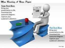 1113 3d Man Reading News Paper Ppt Graphics Icons Powerpoint