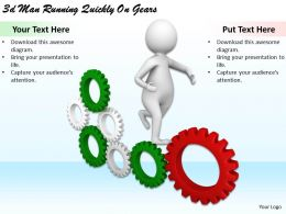 1113 3d Man Running Quickly On Gears Ppt Graphics Icons Powerpoint