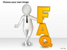 1113 3d Man Showing FAQ Ppt Graphics Icons Powerpoint
