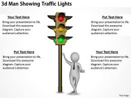 1113 3d Man Showing Traffic Lights Ppt Graphics Icons Powerpoint