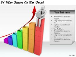 1113 3d Man Sitting On Bar Graph Ppt Graphics Icons Powerpoint