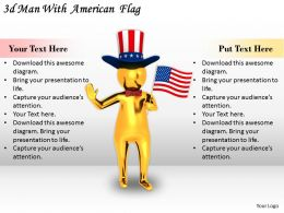 1113 3d Man With American Flag Ppt Graphics Icons Powerpoint